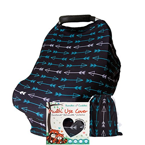 Multi Use Nursing Cover Baby Carseat Canopy Stretchy Breastfeeding Infinity Scarf for Shopping Carts, Strollers, High Chair for Girls and Boys. Unique Baby Shower Gift Box Set - Black w Arrow Pattern