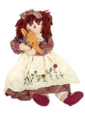 (Delton Products Corp Girl Raggedy with Kitty Cat 19 inch Cotton Blend Plush Table Top Figurine Doll Multicolor)