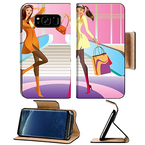 Liili Premium Samsung Galaxy S8 Plus Aluminum Snap Case two fashion shopping girl with bag in mall IMAGE ID - Downtown La Malls In