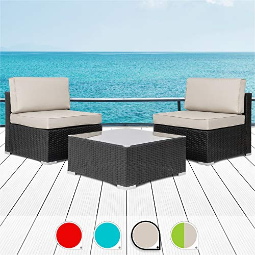 Walsunny 3 Pieces Patio Set Outdoor Wicker Patio Furniture Sets Modern Rocking Bistro Set Rattan Chair Conversation Sets with Coffee Table (Brown) (Khaki)