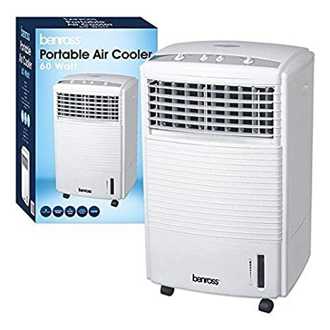 PORTABLE WATER EVAPORATIVE 3 SPEED OSCILLATING FAN AIR COOLER COLD WITH TIMER 60w 7 LITER TANK LIVIVO