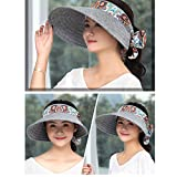 Empty top Sun Hat/Female Summer Sun Protection Outdoor Hat/Foldable Big Hat/Beach Hat (Color : Grey)