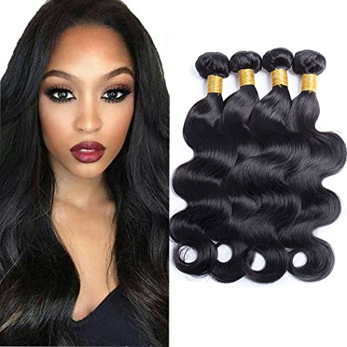 Price comparison product image Maxine 9A Grade Malaysian Virgin Body Wave 3Bundles Hair Weft Cheap 100% Unprocessed Human Hair Weave Extensions Natural Black Color 95-100g/pc(10 12 14 Inch)