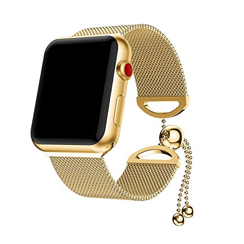 Price comparison product image Cywulin Compatible with Apple Watch Band 40mm 44mm 42mm 38mm,  Stainless Steel Metal Mesh Milanese Watch Loop Replacement Wristband Strap Link Bracelet for iWatch Series 4 3 2 1 (38mm / 40mm,  Gold)