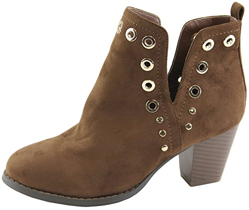 Chunky Heel Bootie V Tan Women's Cut Out Lovmark Stacked Studded Ankle Grommet AY8S1Bq