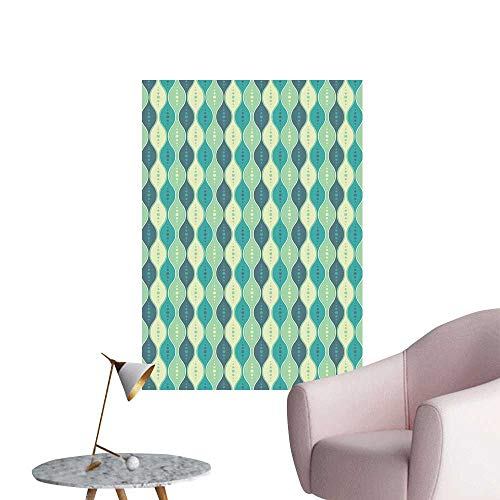(Geometric Stickers Wall Murals Decals Removable Retro Pattern Dotted Design Oval Abstract Shapes Symmetrical Background Wall Stickers Pale Green Teal Cadet Blue W8 x H10)