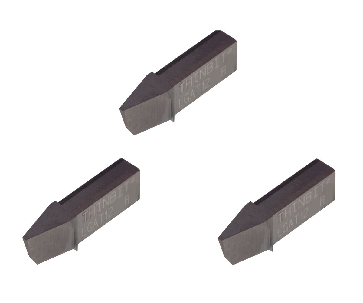 THINBIT 3 Pack LGAT12D2RD L Series Acme Threading Insert for 12 TPI in Aluminum Bronze Copper and cast Iron with Interrupted cuts. Brass TiCN Coated Carbide