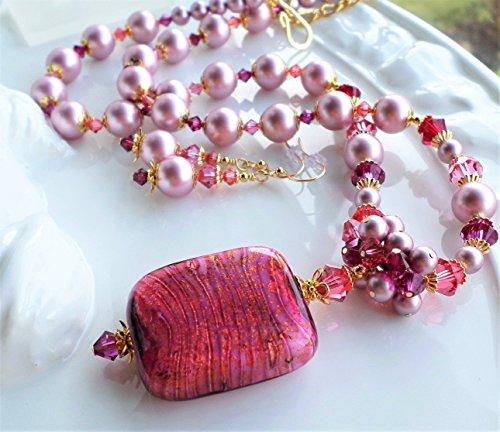 Fuchsia Hot Pink Murano Glass Swarovski Crystal Pearl Statement Necklace SET