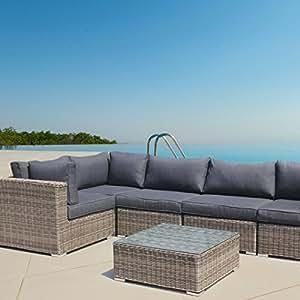 LuxuryGarden Conjunto muebles de Jardín esquina en Poly Ratán Aluminio Marrón