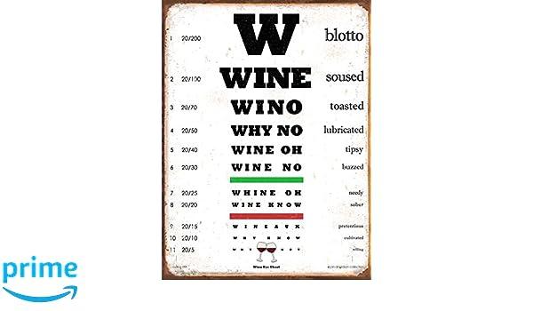 Amazon Wine Eye Chart 12x16 Metal Sign Funny Gift Put A