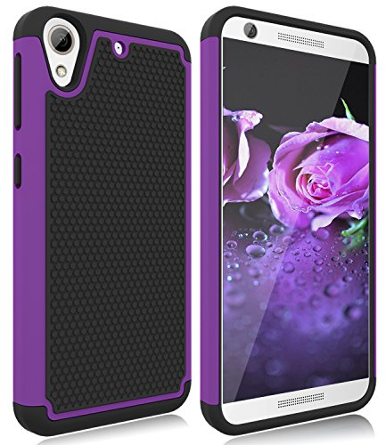 HTC Desire 626S Case, HTC Desire 626 Case, Zectoo Hybrid Shockproof Dual Layer Armor Defender Protective Bumper Cute Slim Hard Back Case Cover for HTC Desire 626 / 626s - Purple