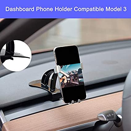 Car Dashboard Smartphone Holder Phone Mount Adjustable 360 Degree Rotation Cellphone Cradle Compatible for for iPhone Xs Max R X 8 Plus 7 Plus 6S Samsung Galaxy S9 S8 Edge S7 Compatibe Tesla Model 3