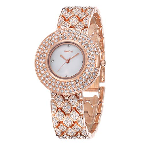 Fashion Bling Diamond Watches for Women, Luxury Jewelry Crystal Rhineston Ladies Watches, Female Charm Bracelet Dress Gifts Wristwatches (Rose Gold)