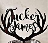 Antler cake topper, personalized name