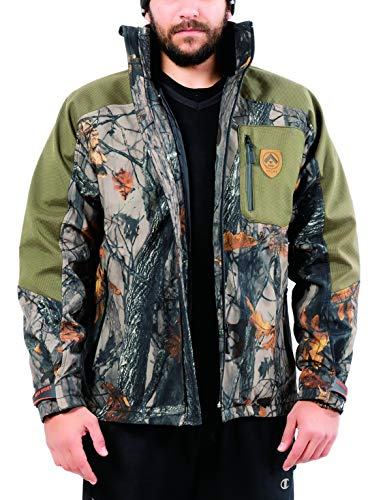 ARES SPORT Camo Hunting Jacket, Men's 2-in-1 Soft Shell Military Tactical Jacket with Camouflage Outer Coat & Detachable Inner Jacket, Waterproof Winter Jacket for Outdoors, Camping & Hiking - Inner Soft Shell