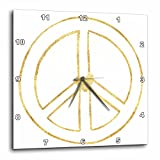 3dRose PS Inspiration - Gold Heart Hollow Peace Sign - 13x13 Wall Clock (dpp_280753_2)