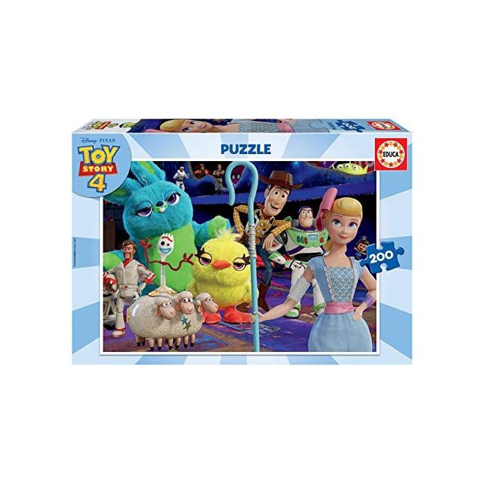 51nk1i005OL Puzzle de 200 piezas, horas de diversión y entretenimiento; dimensión aproximado del puzzle montado: 40 x 28 cm Puzzles inspirados en Toy Story 4 Compuestos por grandes piezas, óptimo acabadas para que sea sencilla y segura su manipulación por los niños