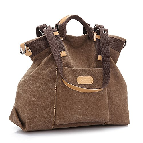 Mfeo Women's Shopping Canvas Big Bag Weekend Travel Shoulder Bag Casual Handbag (Brown) (Suede Laptop Bag)