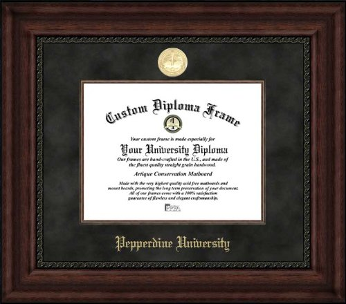 (Laminated Visuals Pepperdine University Waves - Gold Medallion - Suede Mat - Mahogany - Diploma Frame)