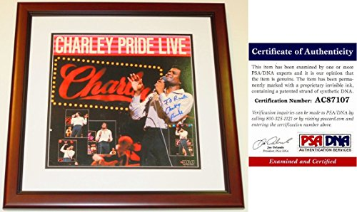 Charley Pride Signed - Autographed Album Cover with PSA/DNA Certificate of Authenticity (COA) MAHOGANY CUSTOM FRAME with LP Vinyl Record Album