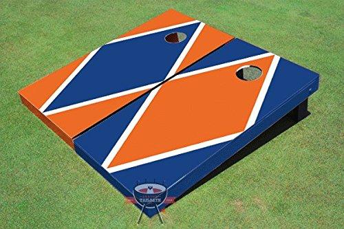 ロイヤルブルーandオレンジ交互ダイヤモンドCorn穴ボードCornhole Game Set B00O28UD76