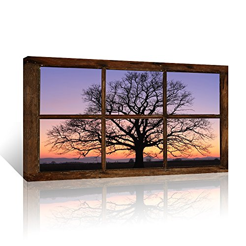 Kolo Wall Art Large Retro Vintage Window Frame Style Tree in Sunset Scenery Wall Decor Gallery Wrap Modern Canvas Prints Wall Decor (24
