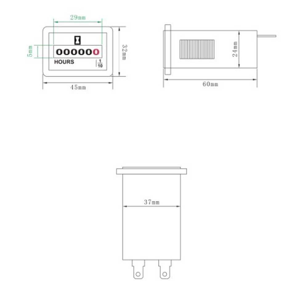 Qiorange DC 6V-50V Hour Meter Hourmeter Gauge for Boat Car Truck Engine Rhombus