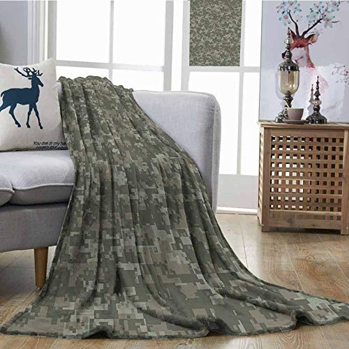 (SONGDAYONE Living Room/Bedroom Warm Blanket Monochrome Attire Pattern Concealing Hiding in The Woods Themed Print Print Summer Quilt Comforter W70 xL84 Army Green Sage Green)