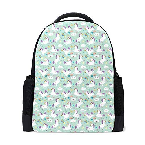 Unicorn Pattern Vector Im Backpack Bookbags Waterproof Travel Daypack Bag Rucksack -