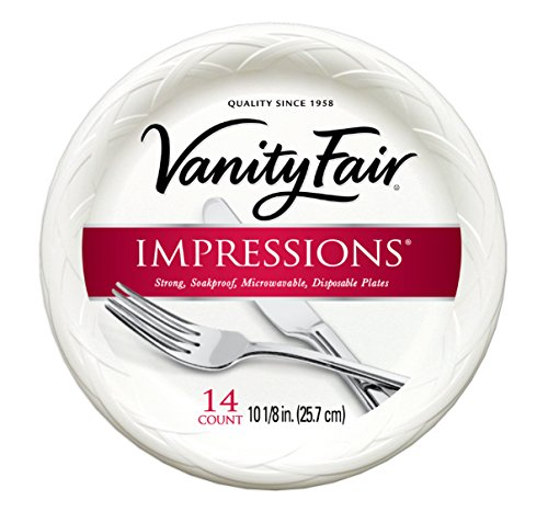 Vanity Fair Impressions Disposable Plates, 10, 14 Count, Dinner Size White Paper Plates