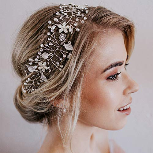 SWEETV Wedding Headband Silver Bohemian Headpiece Crystal Pearl Hair Vine Flower Halo Bridal Hair Accessories