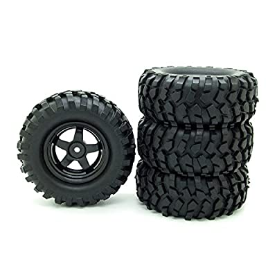 Buggy Rubber Tires + 5 Spoke Wheel Rim for RC HSP 1:10 Off-Road Pack of 4: Toys & Games