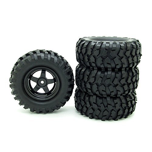 Buggy Rubber Tires + 5 Spoke Wheel Rim for RC HSP 1/10 Off-Road Pack of 4