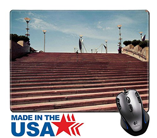 "MSD Natural Rubber Mouse Pad/Mat with Stitched Edges 9.8"" x 7.9"" stairway stone Barcelona Catalonia Spain Vintage retro style IMAGE 24364741"