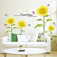 ekugo (TM) DIY amovible mur Sticke autocollant Stickers soleil Tournesol papillon Dansant en été Stickers Enfant Enfant de décoration de chambre