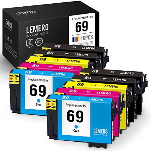 (LEMERO Remanufactured Ink Cartridge Replacement for Epson 69 T069 for Workforce 600 610 500 310 315 30 Stylus CX8400 NX300 NX200 NX515 NX215 NX400 (4 Black, 2 Cyan, 2 Magenta, 2 Yellow, 10 Pack))