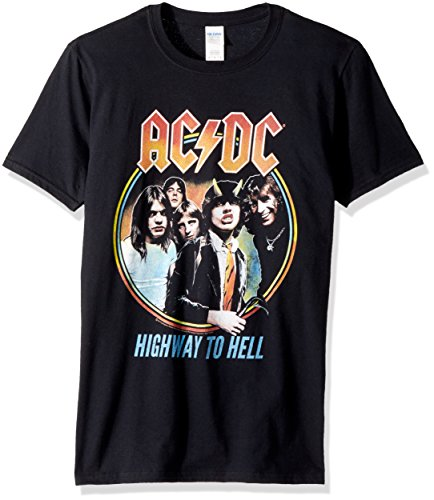 American Classics Unisex-Adults ACDC Highway To Hell Tricolor Short Sleeve T-Shirt, Black, - Shirt T To Hell Highway