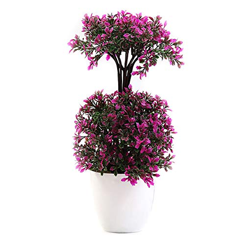 - Lastnight Potted Artificial Flower Dual-Layer Bonsai Topiary Rose Red