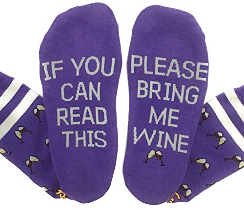 Saucey Socks - NEW! Please Bring Me Wine Socks (Medium (9-11), WINE - Purple with Toasting Wine Glasses) (Fun Wine)