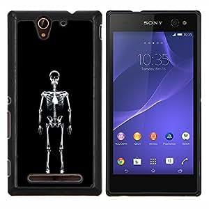 Queen Pattern - FOR Sony Xperia C3 D2533 - Layer X Ray Skeleton Skull - Cubierta del caso de impacto con el patr???¡¯???€????€?????n Art De