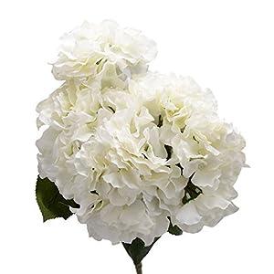 Derker Silk Artificial Hydrangea Bouquet 5 Big Heads Hydrangea Flowers Arrangement Home Wedding Centerpieces Decoration (White) 93