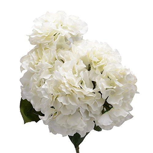 Derker Silk Artificial Hydrangea Bouquet 5 Big Heads Hydrangea Flowers Arrangement Home Wedding Centerpieces Decoration (White)