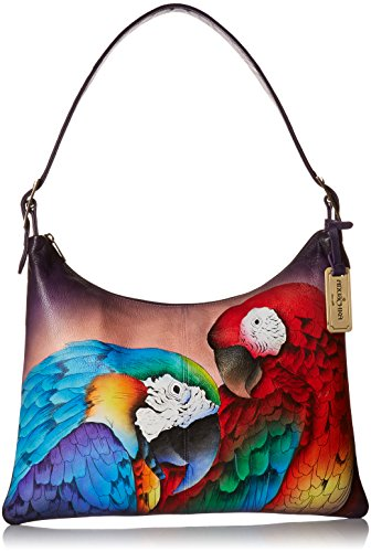 Anuschka Women's Large Leather Hand Painted Shoulder Bag, Rainforest Royalty by Anna by Anuschka
