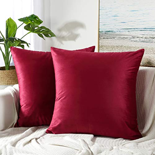 JUSPURBET Velvet Pillow Covers 24x24 Inches,Pack of 2 Throw Pillow Covers for Sofa Couch Bed,Decorative Super Soft Throw Pillows - Burgundy Cover