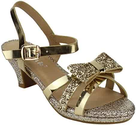 996ac9989aa Link Smart-79K Girl s Glitter Bow Strap Buckle Platform Wrapped Heel Sandals