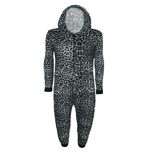 Womens Print Jersey Sleeve Long Playsuit Hooded Up Jumpsuit Ladies Grey Viscose Zip Print Leopard FrtrIqnTw
