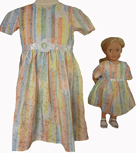 Doll Clothes Superstore Size 7 Matching Girl and Doll Pastel Princess Pretty Dresses