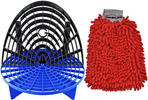 The Grit Guard Insert with Washboard Combo Pack (Blue/Black with Red Mitt) (Angled Q Tips)
