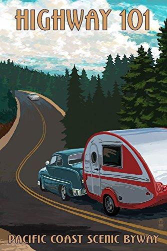 Oregon - Highway 101 - Pacific Coast Scenic Byway - Retro Camper (12x18 Fine Art Print, Home Wall Decor Artwork Poster)