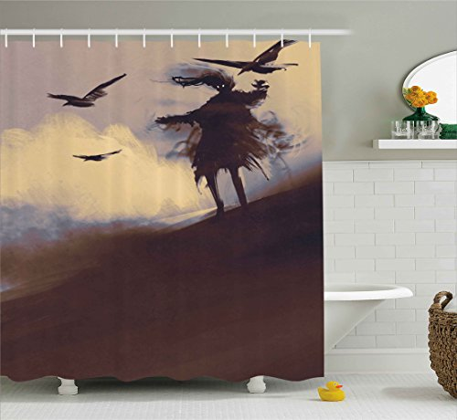 Ambesonne Horror Shower Curtain, Dark Soul from a Scary Movie on The Hills with Clouds and Flying Crows Print, Fabric Bathroom Decor Set with Hooks, 75 inches Long, Brown Mauve Begie by Ambesonne